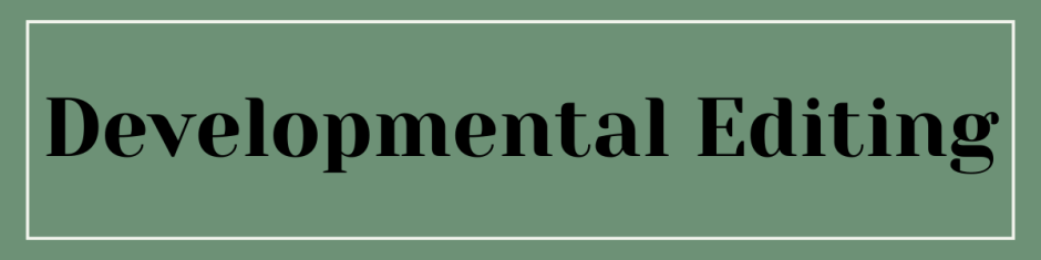 """Forest green banner that reads """"Developmental Editing"""" in black serif font."""