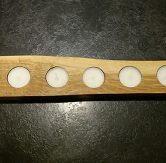 Solid Oak Candle / Egg Holder X6 Tea Lights