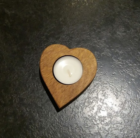 Solid Oak Heart Shaped Single Candle / Egg Cup