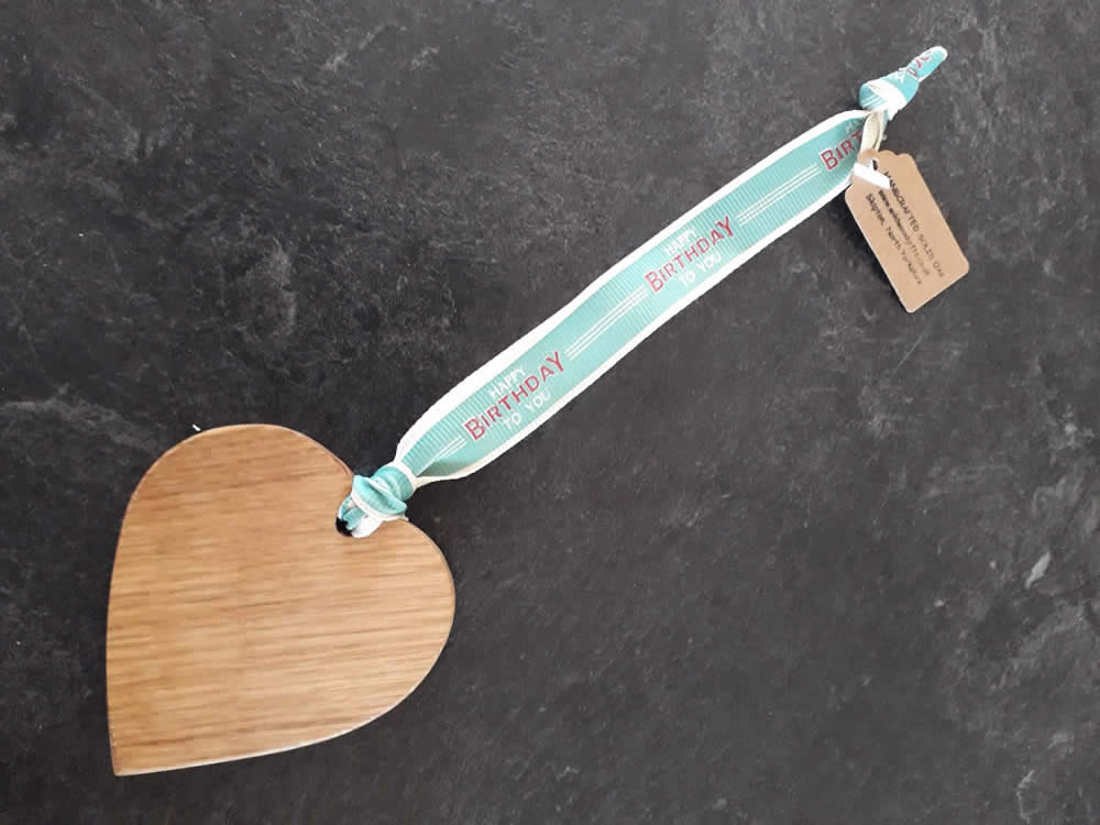 Solid Oak Heart on Premium Ribbon - Happy Birthday To You