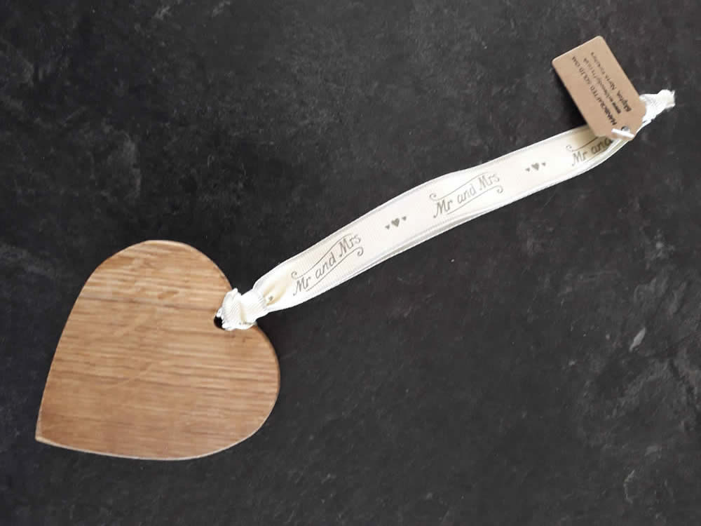 Solid Oak Heart on Premium Ribbon - Mr And Mrs