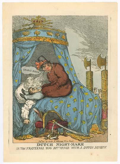 Abb. 4: Thomas Rowlandson: Dutch Night-Mare or the Fraternal Hug Returned with a Dutch Squeeze, 29. November 1813, Radierung, 30,9 x 23 cm, Wilhelm Busch – Museum für Karikatur und Zeichenkunst