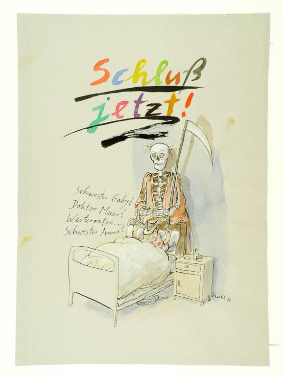 """Ernst Kahl (*1949): """"Schluss jetzt!"""" 1992. Wilhelm Busch – Deutsches Museum für Karikatur und Zeichenkunst."""