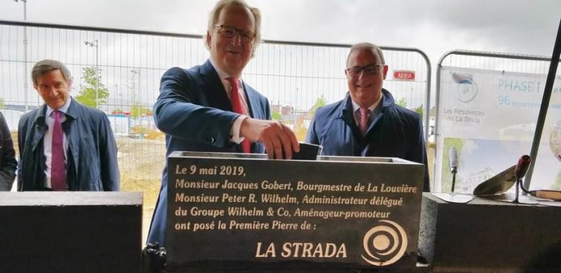 Pose de la 1ère pierre de La Strada, La Louvière, 9 mai 2019