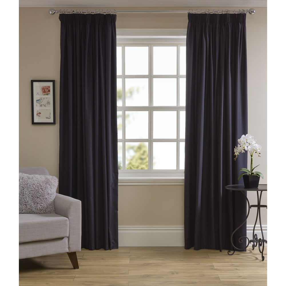 Wilko Black Thermal Blackout Pencil Pleat Curtains 167 W X 183cm D Wilko