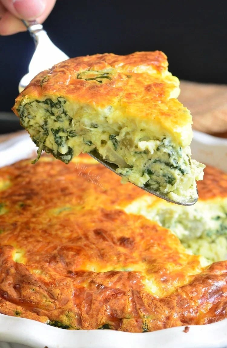SPINACH ARTICHOKE CRUSTLESS QUICHE - WILL COOK FOR SMILES