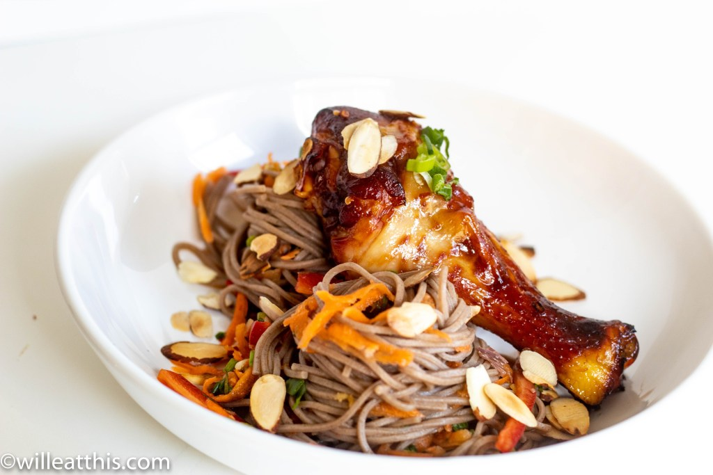 Soy Burnt Caramel chicken served with noodles