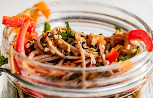 Close up picture of the vegan soba noodles in a pot