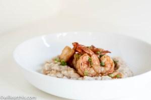 Smoky Shrimp Confit on Mashed White beans