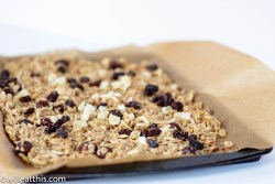 Apple Pie Granola in Baking tray lined with parchment paper