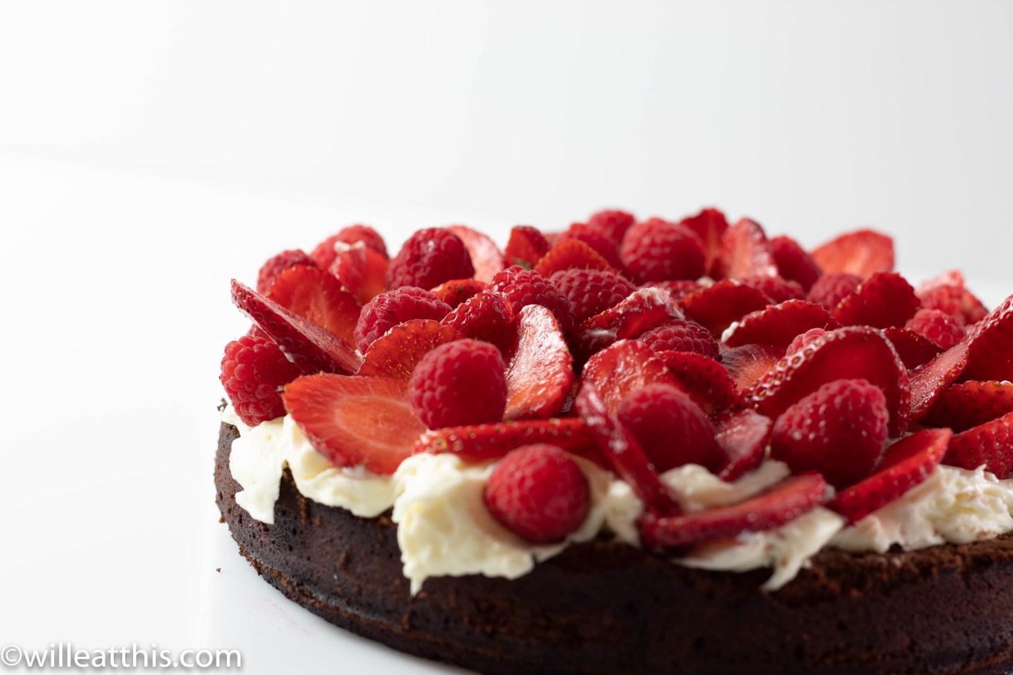 Side Shot of Chocolate Hazelnut cake with Mascarpone Frosting