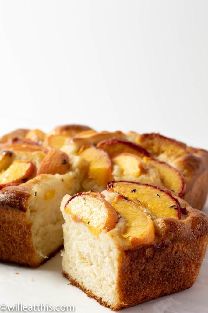 Cut Baked Peach Focaccia