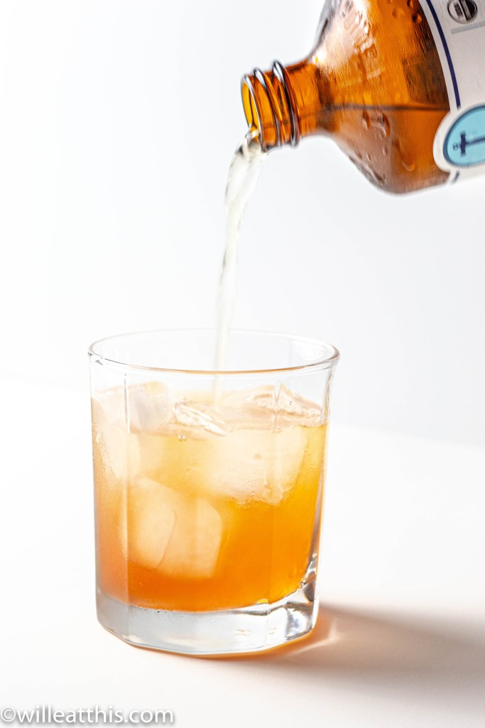 Peach Lavender Cordial Topped off with kombucha