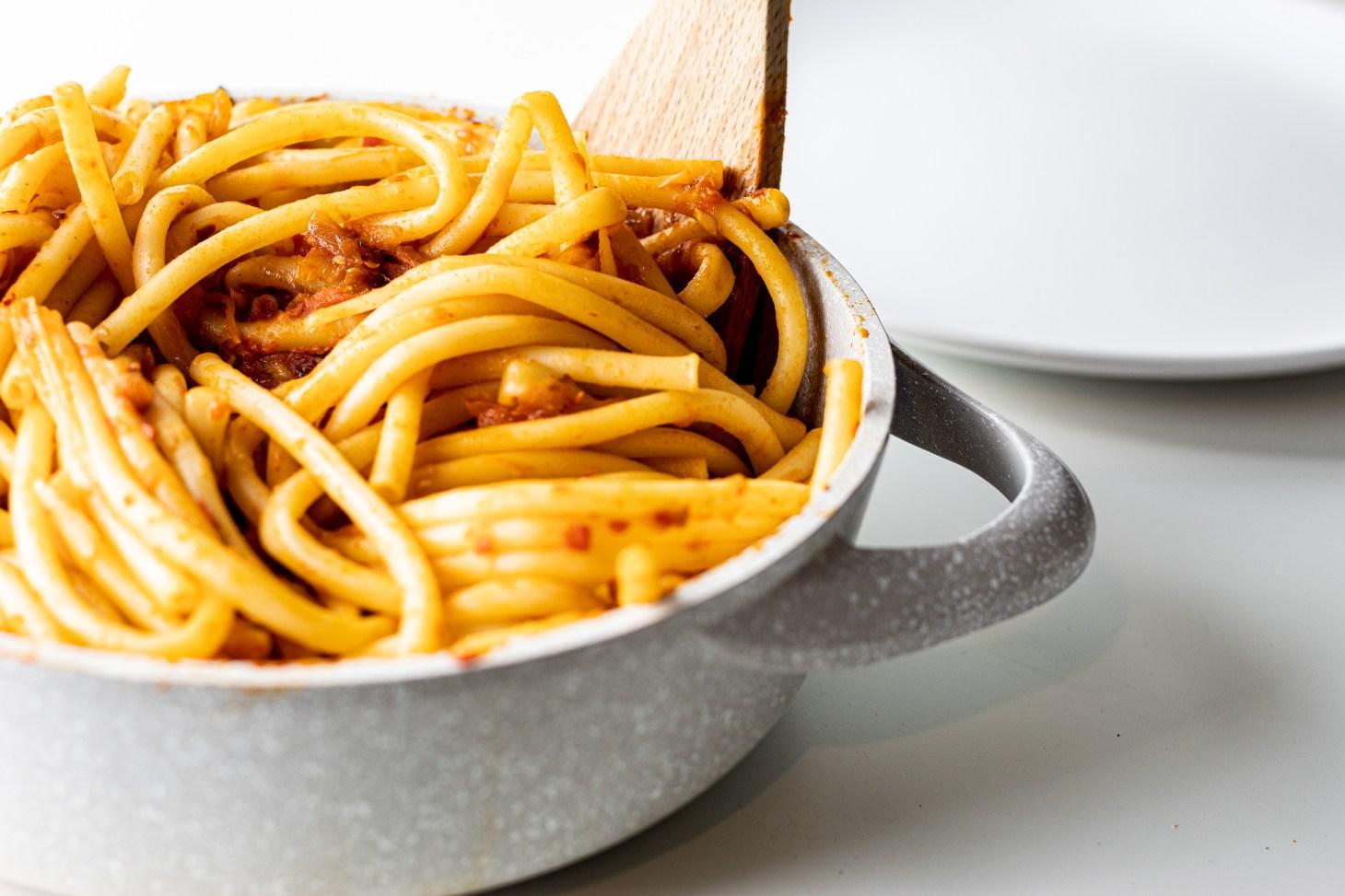 pasta in jammy tomato sauce pot