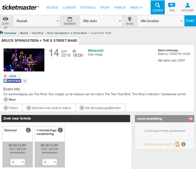Bruce Springsteen Ticketmaster - Willem Croese