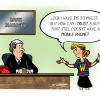 Digital - funny cartoon of girl and a bank manager
