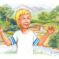 Watercolour - boy at a river