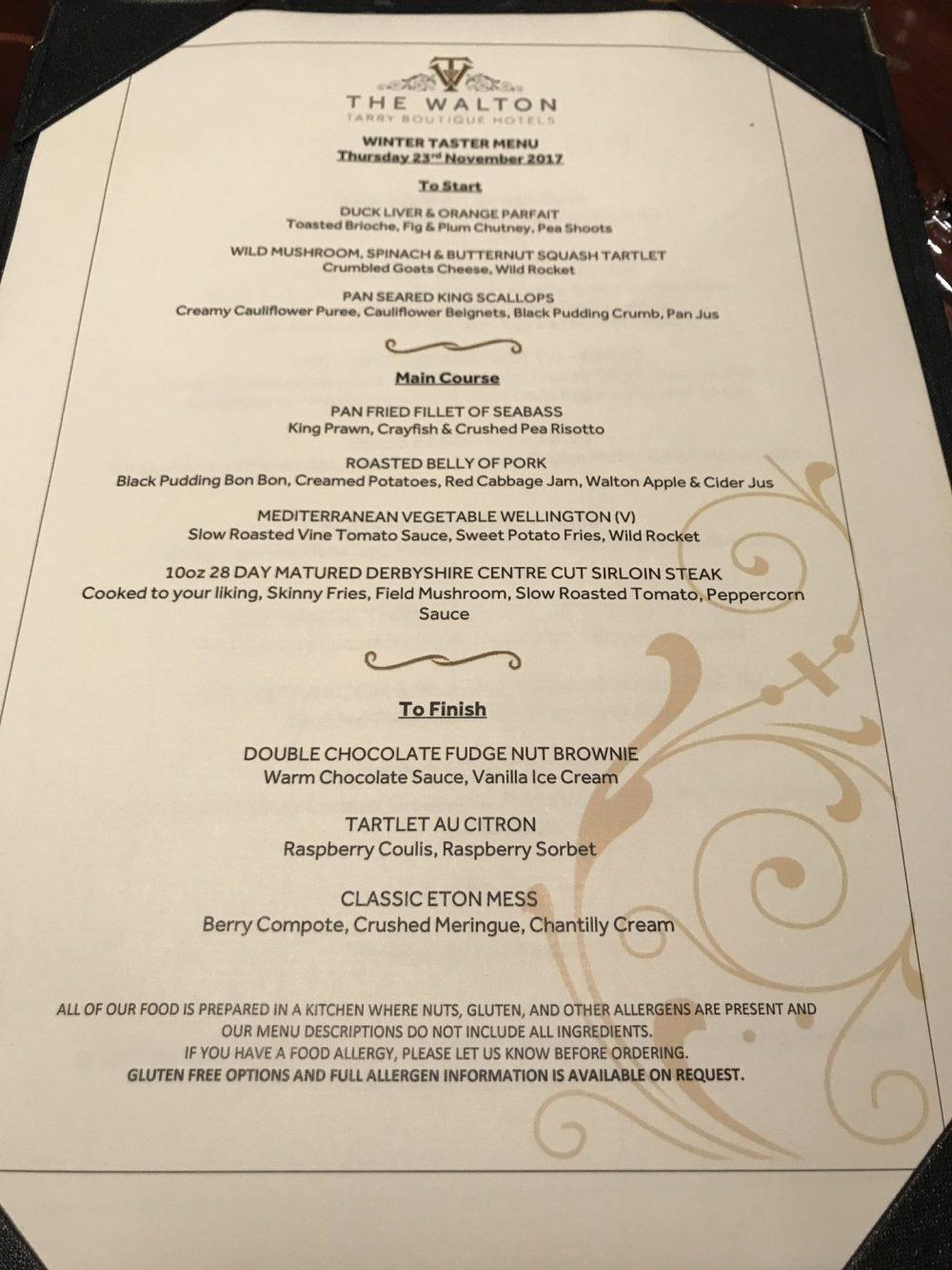 The Walton Hotel sample menu