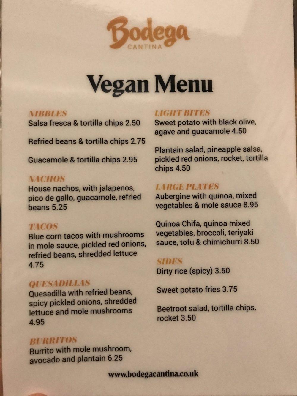 vegan menu bodega leicester