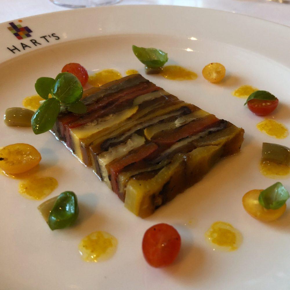 Terrine of Mediterranean vegetables, saffron dressing