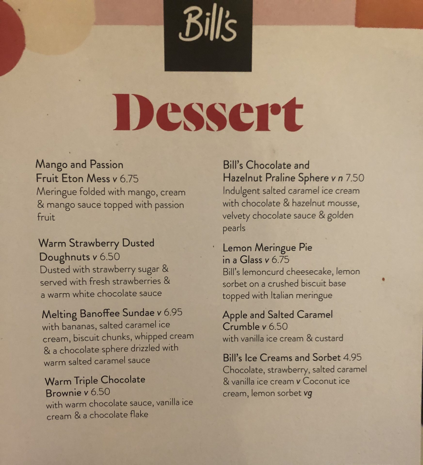Dessert menu Bills Restaurant