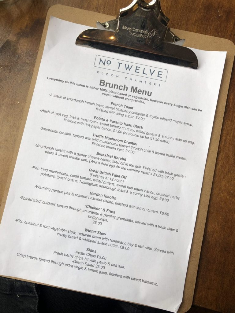 Number 12 Nottingham brunch menu