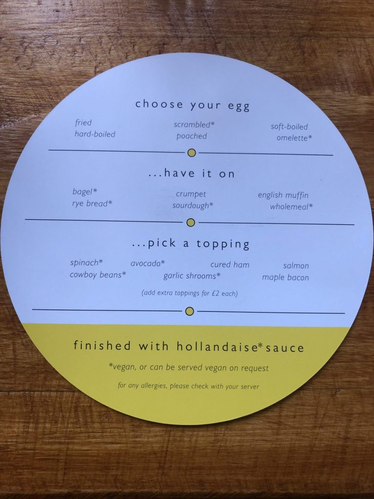 Yolk Nottingham breakfast menu