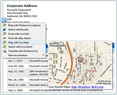 IE 8 Accelerator with Live Maps
