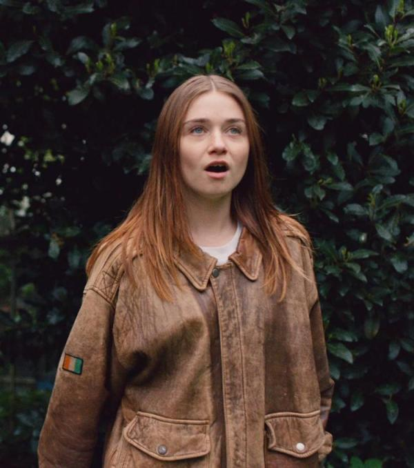 Alyssa Jessica Barden Brown Distressed Leather Jacket