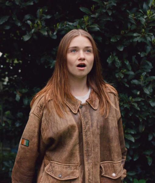 Alyssa Jessica Barden Brown Distressed Leather Jacket