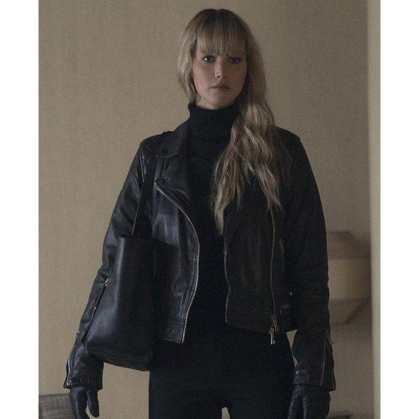 Red Sparrow Diminika Egorova Black Leather Jacket