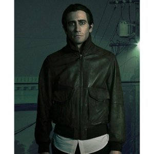 Lou Bloom Nightcrawler Brown Bomber Leather Jacket