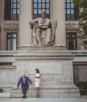 couple in front of statue in DC
