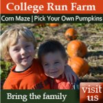 College Run Farms – Open for pumpkin picking, corn maze, homemade ice cream & more family fun!