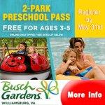 FREE Busch Gardens  - Preschool Pass 2021