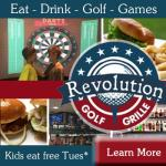 Kids eat free this Tuesday Sept 26th at Revolution Golf and Grille (1 free child meal per adult meal purchase)
