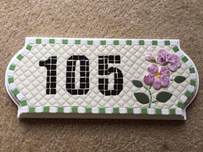 Mosaic Address Sign artfully