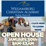 Thinking Private School? Williamsburg Christian Academy Open House on Jan 30th at 9AM- details: