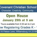 Open House at Covenant Christian School is on Monday, January 29th - Learn more: