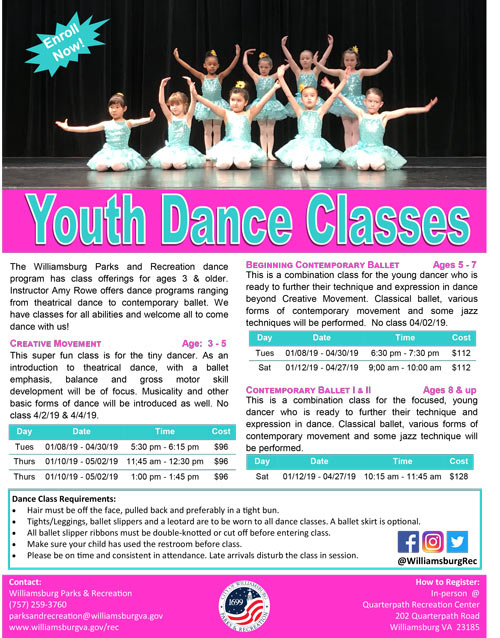 youth dance classes williamsburg