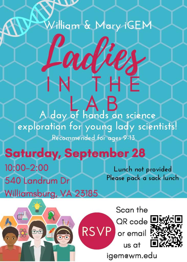 flyer for ladies in the lab event at W&M