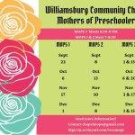 Williamsburg Community Chapel MOPS - group for moms, expectant moms - meetings start Sept. 1