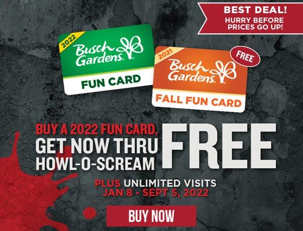 busch gardens fun cards sale