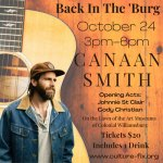 Back in the 'Burg with Canaan Smith! Live Concert this Sun. Oct. 24!