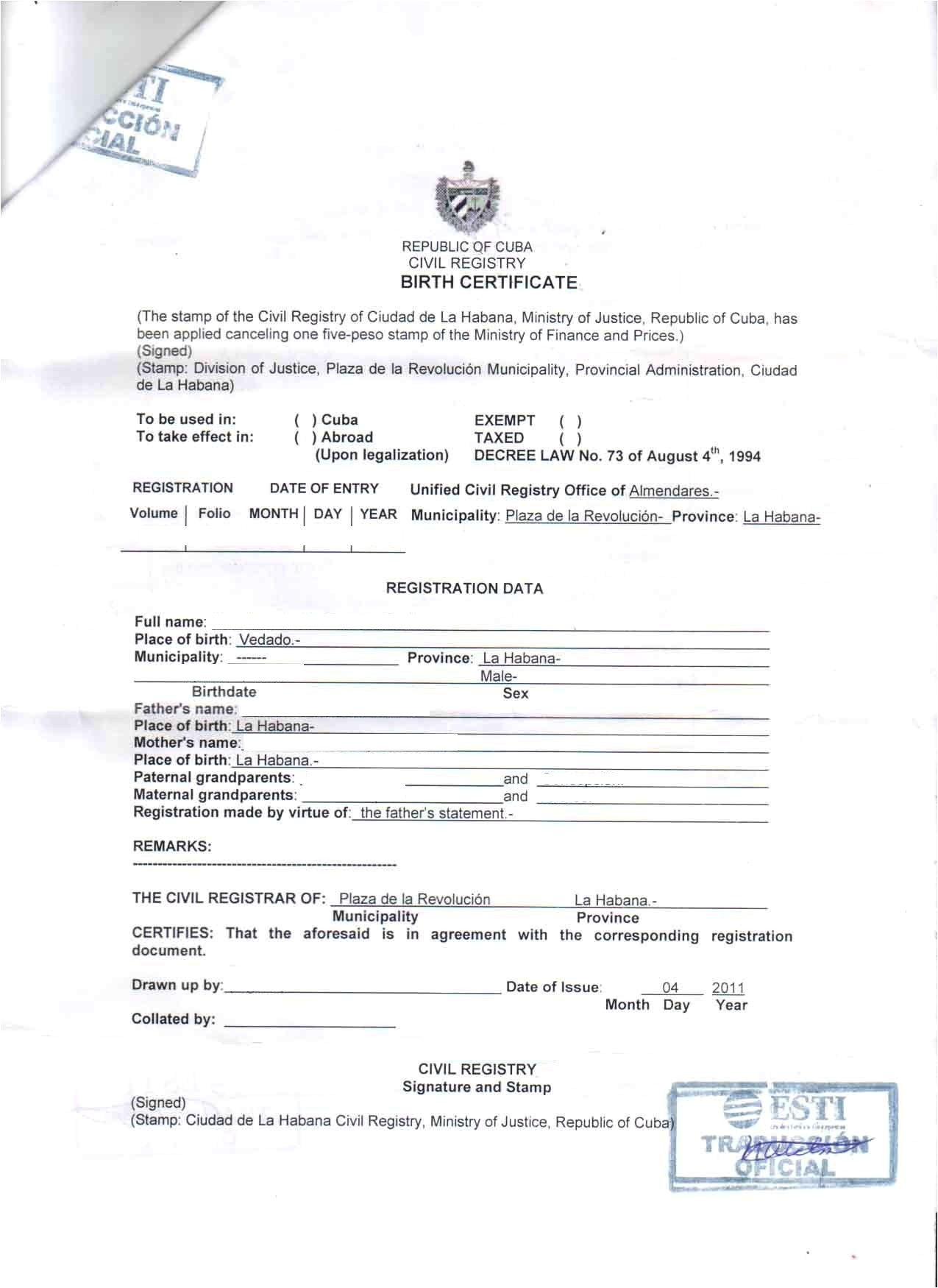 Free Birth Certificate Translation Template From English