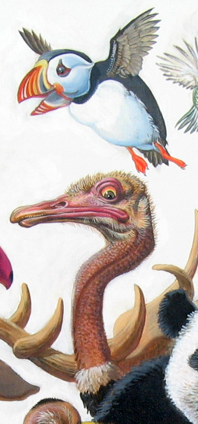 Menagerie – Puffin and Ostrich Detail