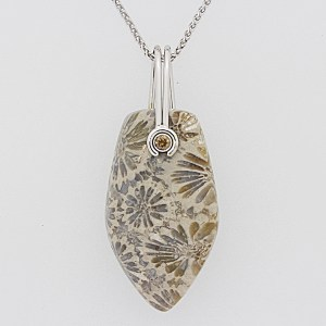 Fossil Coral with diamond accent