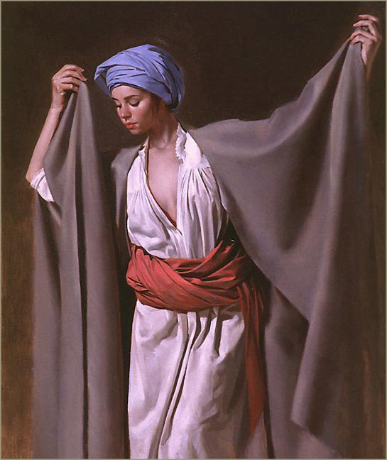 peinture de femme et drapés