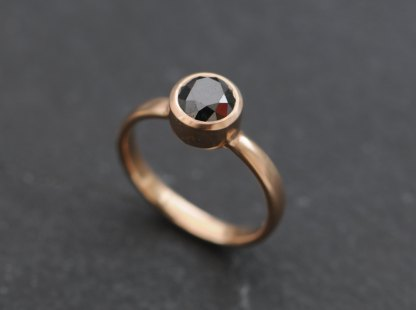 black diamond solitaire set in rose gold ring