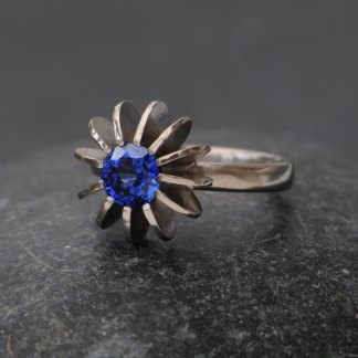 Ceylon blue sapphire sea urchin ring in white gold